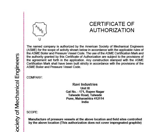 American Society of Mechanical Engineers Certifications